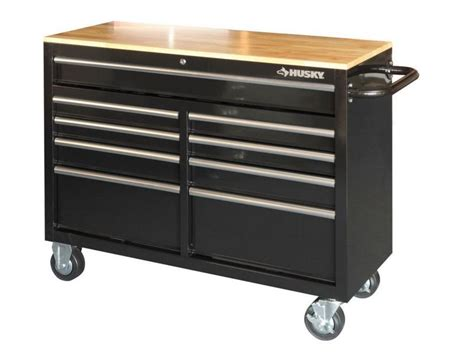 rolling tool cabinet workbench husky 46 in 9 drawer black mobile workbench tool box chest