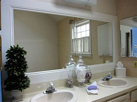 wood trim around bathroom mirror how to frame a bathroom mirror