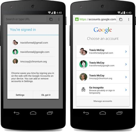 sign into chrome on android chrome android beta gets single sign in for and new material design looks techcrunch