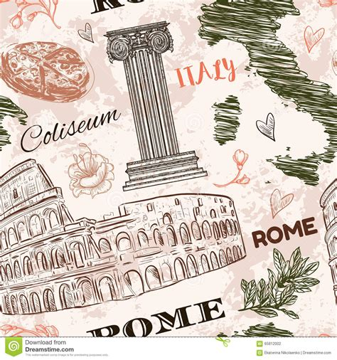 Rome Decoration Hand by Map Italy Vintage Cartoon Vector Cartoondealer Com 90760851