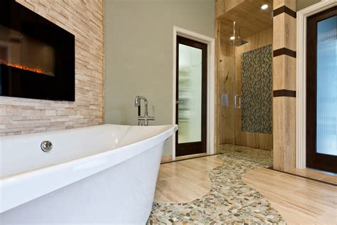 sliced pebble tile Spaces Contemporary with bathroom sea glasss tile beeyoutifullife.com