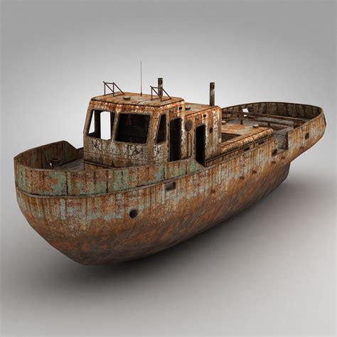 3d boat 3d model rusty boat