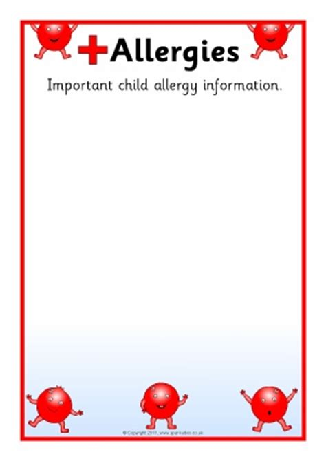 food allergy card template for children primary school pupil information board signs
