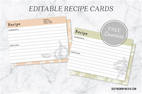 editable printable recipe cards free editable recipe cards