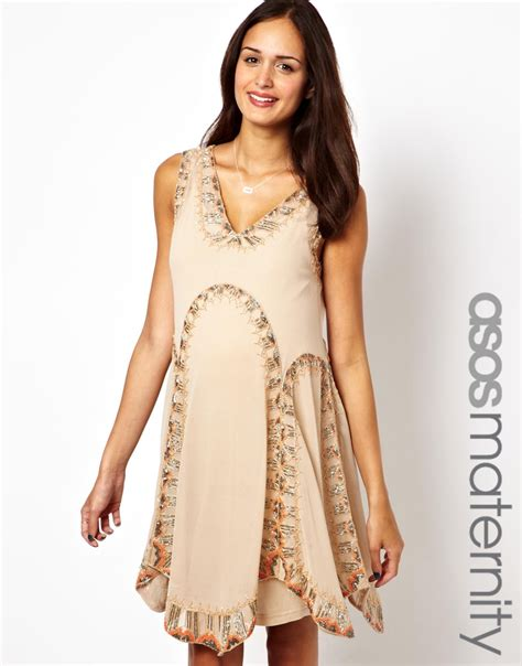 Asos Asos Maternity Flapper Dress with Embellishment in Natural   Lyst