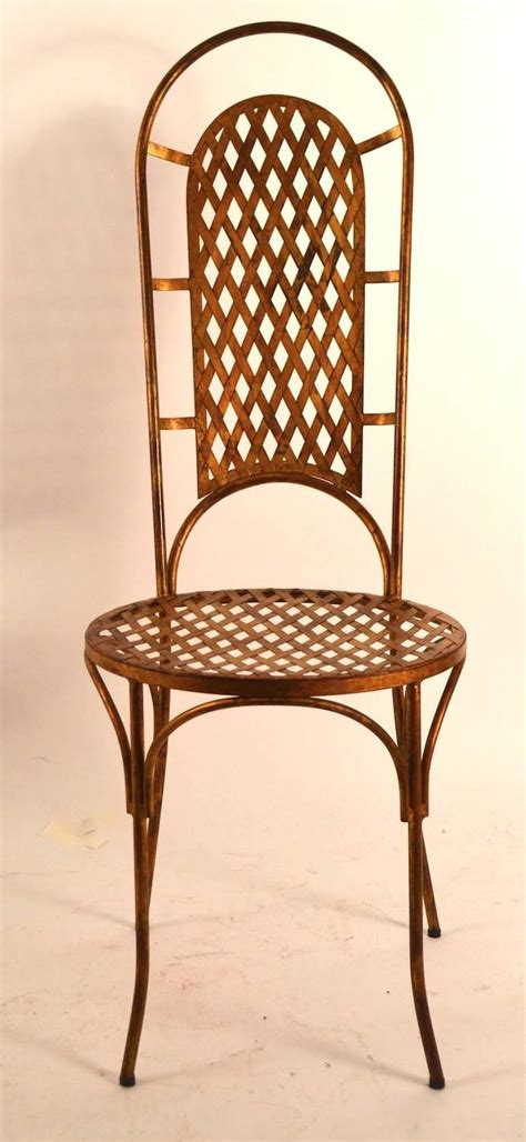 Metal Dining Chairs For Sale Set Of Four Gilt Metal Dining Chairs For Sale At 1stdibs