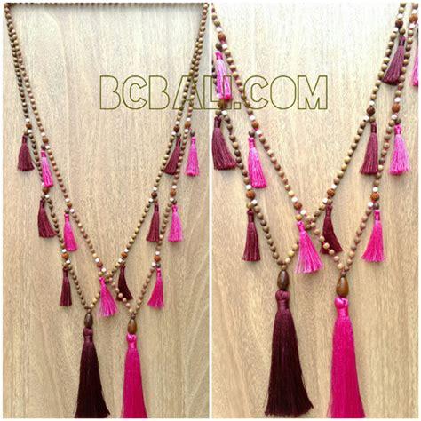 Handmade Bali - multi tassels wood necklace handmade bali multi tassels