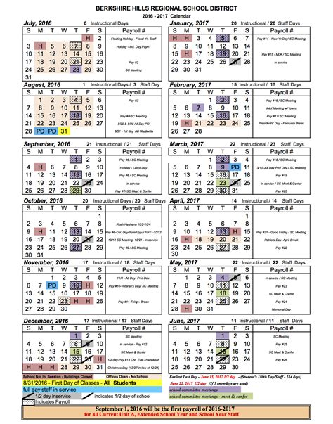 High School Calendar Berkshire Regional School District School Calendar