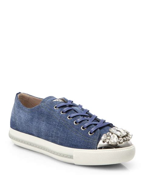 Sneakers Denim 1 lyst miu miu denim crystaltoe laceup sneakers in blue