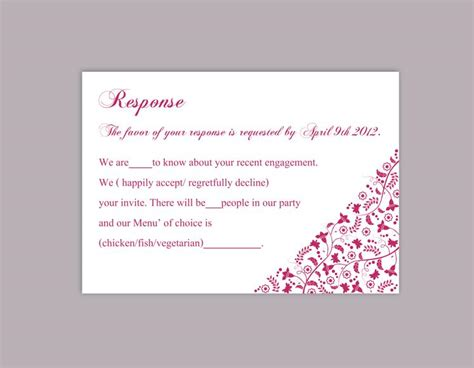 diy response cards template diy wedding rsvp template editable word file rsvp