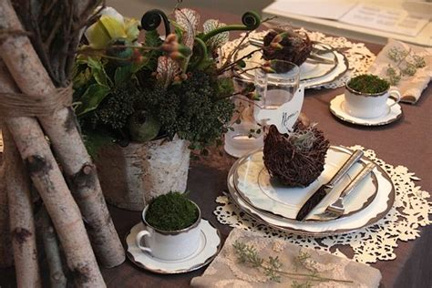 woodland themed wedding reception table prop closet