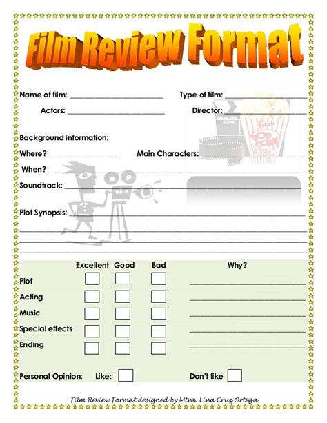 Home Design Questionnaire by Film Review Format