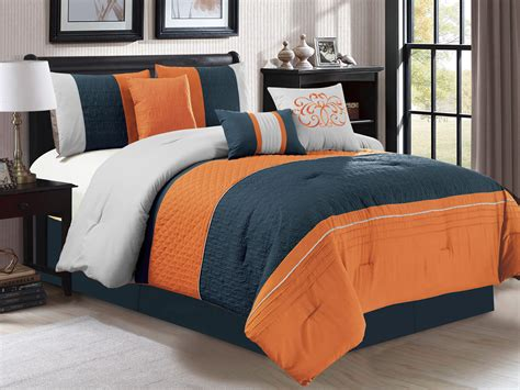 gray and orange comforter set 7 pc clamshell trellis scroll embossed comforter set