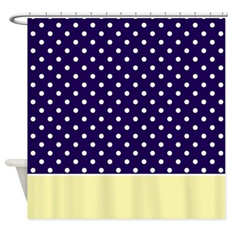 navy blue and yellow curtains navy blue yellow w dots shower curtain by