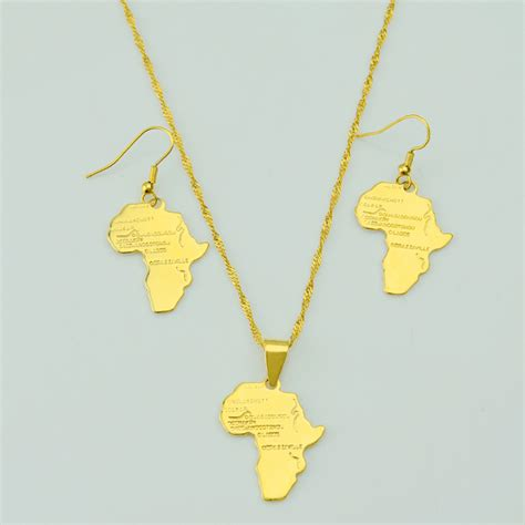 africa map necklace aliexpress buy africa map jewelry set earrings