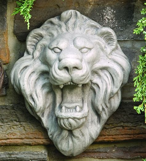 lion face sculptural wall plaque statue