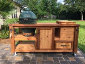 Rolling Kitchen Island Ideas Custom Grill Table Or Grill Cart For Big Green Egg Kamado
