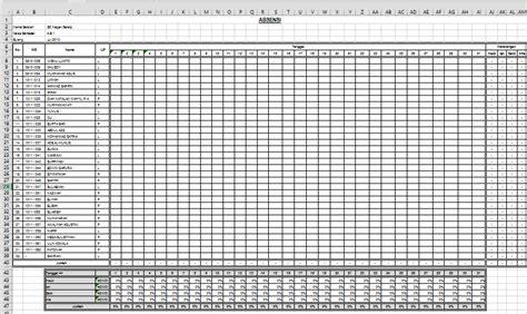 format daftar hadir guru harian absen siswa dengan ms exel dengan grafik absen seberkas