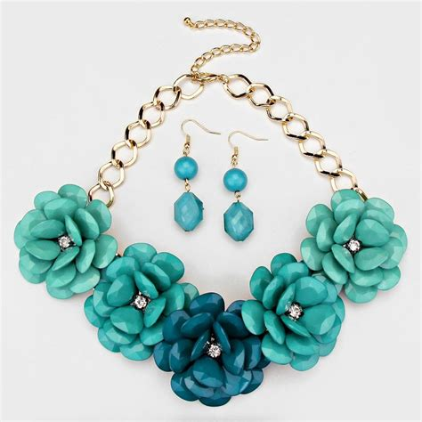 Flower Accent Earrings turquoise and gold accent flower necklace earring