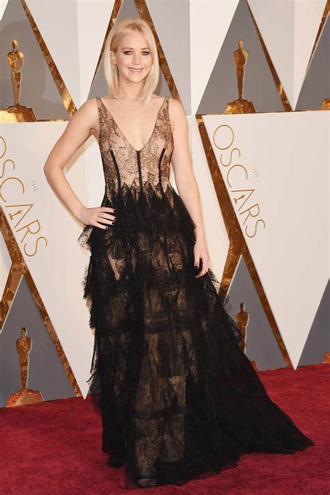 jennifer lawrence see through black dress oscars 2016 red