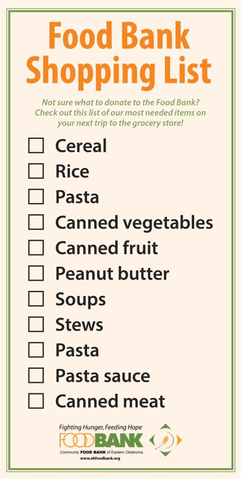 Food Pantry Needs List by Host A Fund Or Food Drive Community Food Bank Of Eastern