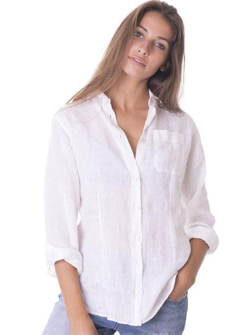 Linen Shirt lina white crushed linen shirt camixa