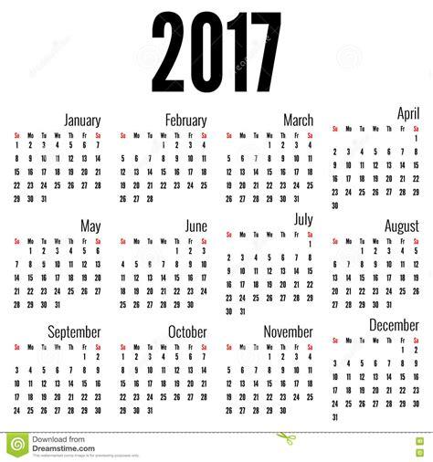 Almanach Kalender 2017 Calendrier Mensuel Pour 2017 Illustration De Vecteur