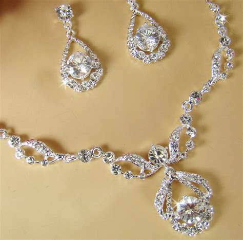 diamante bridal jewelry set silver rhinestone