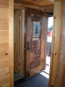 Pine Front Doors Custom Built Carved Entry Door Pine And Stained Glass On Walnut Traditional Front