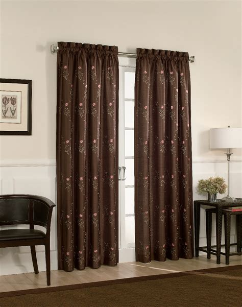 brown panel curtains tracy faux silk embroidered lined panel curtainworks com