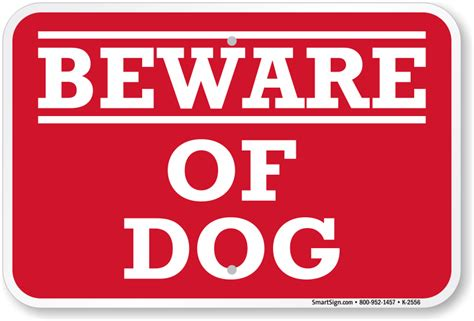 signs of in dogs aluminum beware of sign sku k 2556