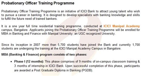 icici bank program icici bank probationary officers program for freshers