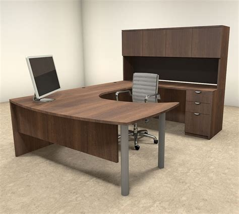 Vector U Shape Executive Desk With Hutch And Bbf Modern Home Office U Shaped Desk