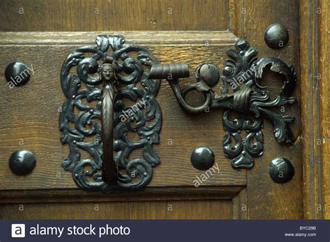 decorative door latch decorative latch on a church door in zug switzerland