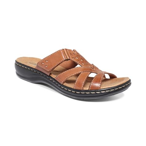 clarks sandals clarks womens shoes leisa plum sandals in brown lyst