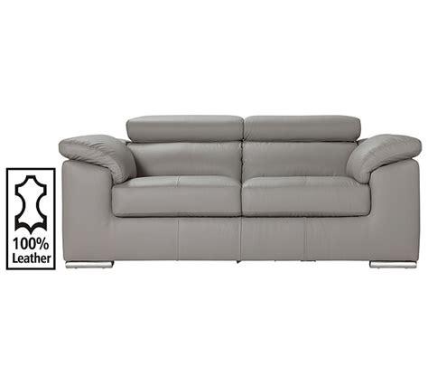 argos leather settees buy hygena valencia 2 seater leather sofa grey at argos