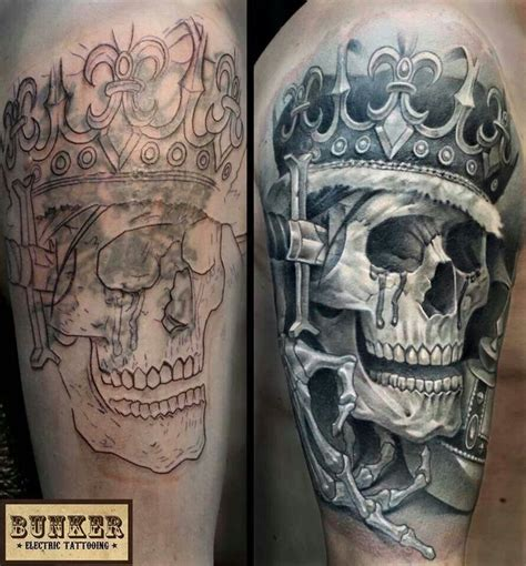 skull with crown tattoo cool cover up skull crown skeleton black and grey