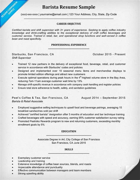 sle resume for barista position barista resume sle 28 images 13 barista resume no