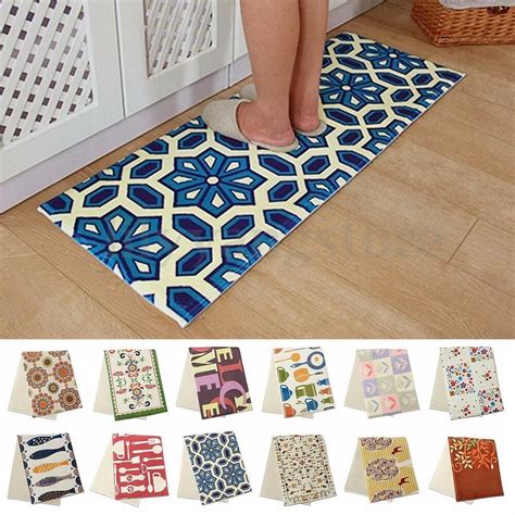 cushion floral carpet  slip chef kitchen bedroom bath floor mat rug  sizes ebay