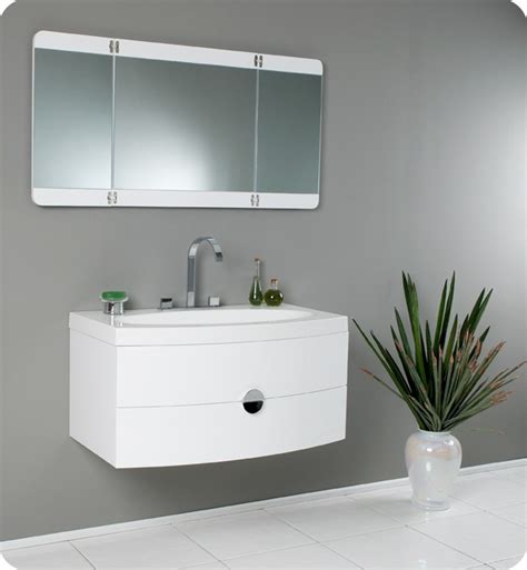 Mirror Vanities For Bathrooms 36 Energia Fvn5092pw White Modern Bathroom Vanity W Three Panel Folding Mirror Bathroom