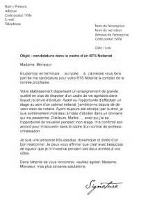 exemple lettre de motivation stage bts notariat document