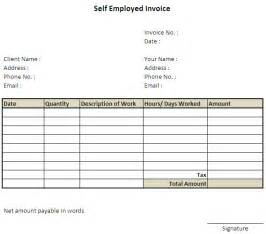 self employment invoice template self employed invoice template excel invoice exle