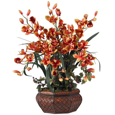 silk flower arrangements large cymbidium orchid silk flower arrangement 1199
