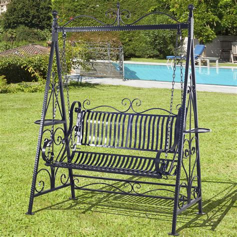 Patio Swing Chair by Outsunny Outdoor Metal Swing Chair Garden Hammock Bench
