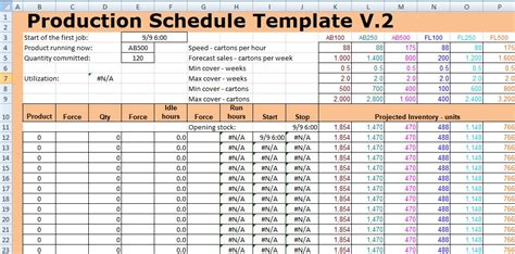 Production Schedule Template Excel Spreadsheettemple Production Schedule Template Excel