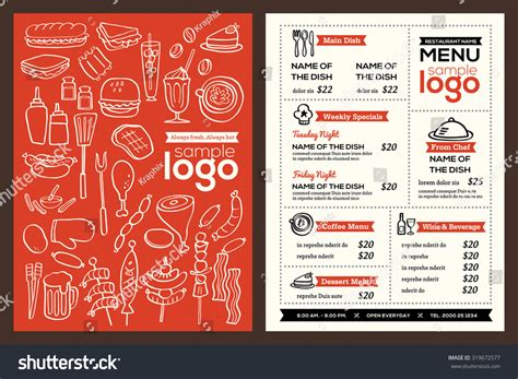 design menu in html modern restaurant menu cover design phlet vector