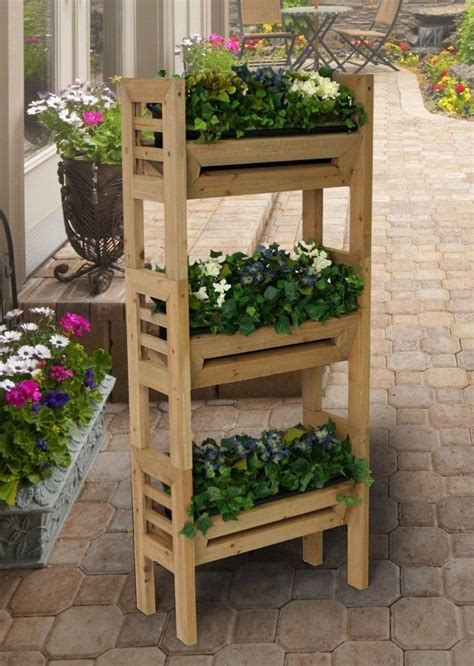 Vertical Gardening Planters New Vertical Gardening Wood Planter Stand With Resin