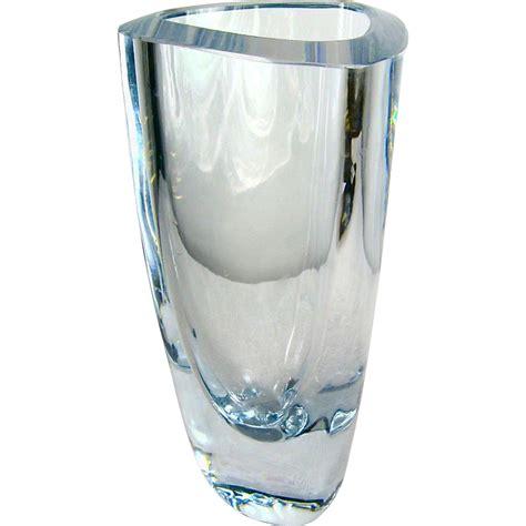 Triangle Vase by Signed Strombergshyttan Blue Triangle Vase Sold On