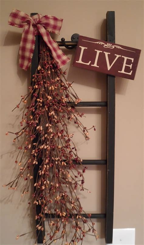 Country Ladder Decor 24 quot country primitive decorative wooden ladder with live