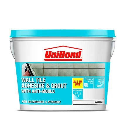 bathroom tile adhesive and grout unibond anti mould grout white 1 5kg